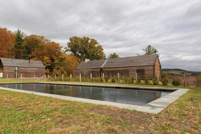 pool mountain view barn house