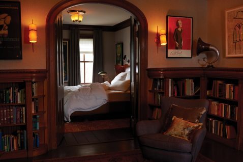 The Writer is a 450-square-foot, literary-themed suite at the Maker Hotel in Hudson.